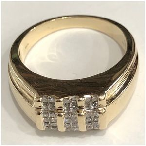 SIGNED GAB 14KT Yellow Gold Diamond Men's Ring